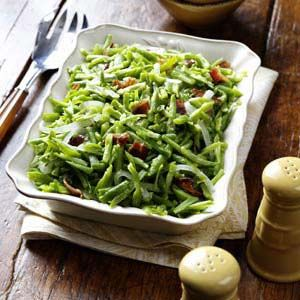 Bacon and Garlic Green Beans.  Yum! I had to alter the recipe a little.   I used canned french style green beans, green onion and minced garlic since that is what I had on hand.  They were delicious.  I will definitely make it again!