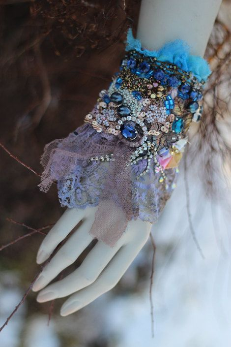 RESERVED- Blue baroque cuff-  romantic shabby chic wrist cuff -antique laces,  hand  beaded