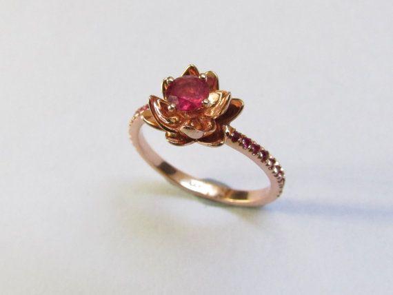Flower Engagement Ring 14k,14k Gem Stone Ring ,Wedding Ring Rose Gold,Rose Gold Ring,Art Deco ring With Rose Gold