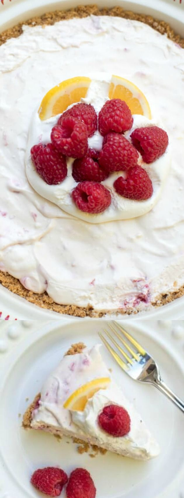 This Creamy Lemon Raspberry Pie from Valerie's Kitchen is a lemony, sweet treat! It has a wonderful light and creamy texture, a burst of tart-sweet lemon flavor and a gorgeous fresh raspberry swirl!