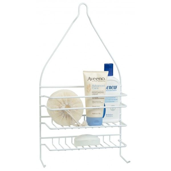 This white powder coated shower caddy keeps your hygiene products organised and within easy reach. �It fits easily over your shower hose. This rack allows items to self drain and dry between shower use. �Hooks at the bottom are perfect for hanging loofahs, back brushes or washcloths.