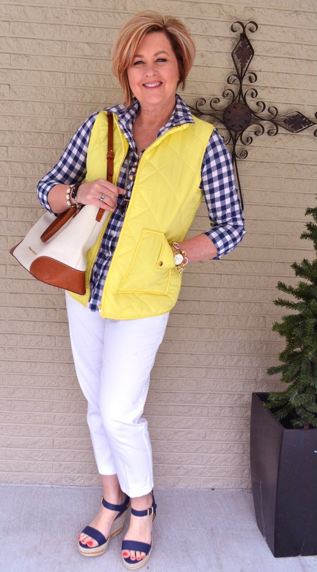 50 is Not Old | Excited Opening Email | Navy & Yellow | Vest | Spring | Fashion over 40 for the everyday woman