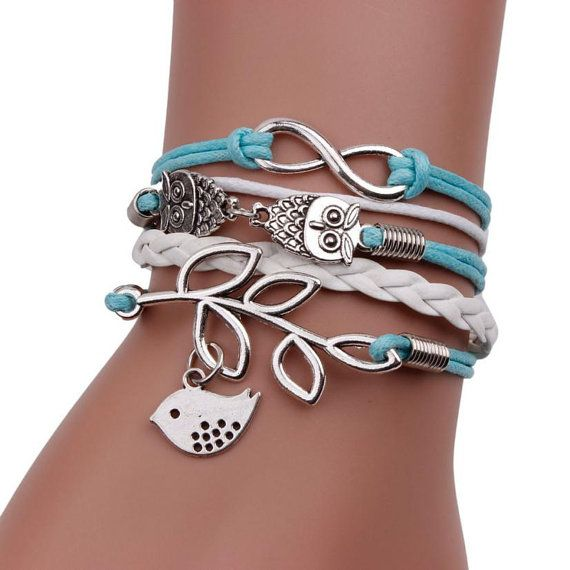 Friendship Bracelet Featuring Owl Bird Infinity by lastnmoments $14.95