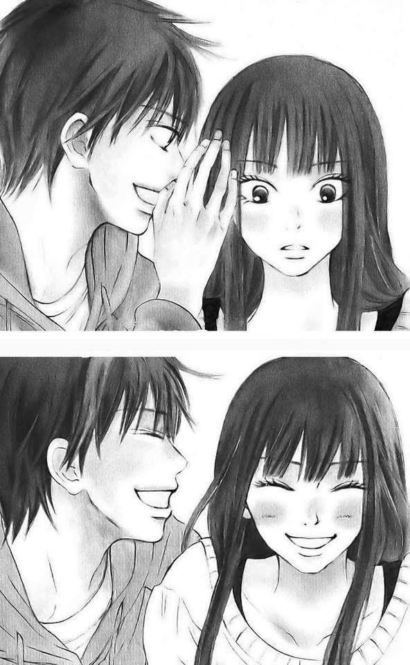 Kimi Ni Todoke: Sawako & Kazahiya. Probably one of the CUTEST couples in shoujo manga/anime history. Sawako is so innocent and adorable <3