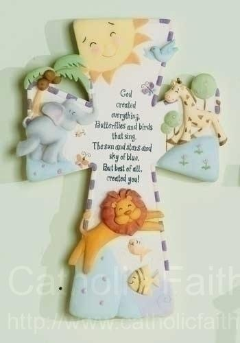 God Created Everything Baby Cross! Love the saying and animals! Definitely getting this for baby room!
