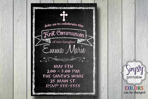 Blackboard Christening/Communion Invitation