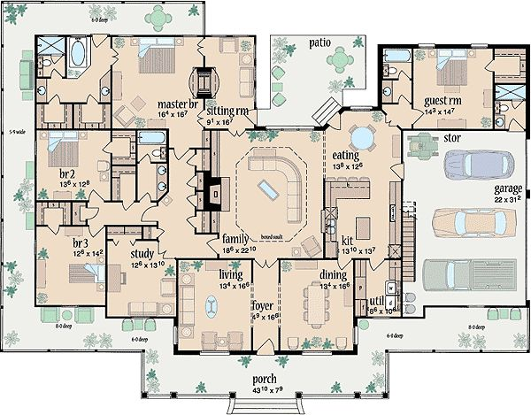 One Level House Plans find this pin and more on dream home bathroom 5 bedroom house plans single story Plan 8488jh Wraparound Beauty