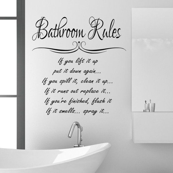 bathroom rules wall sticker quote funny vinyl decal graphic transfer mural art 55x100