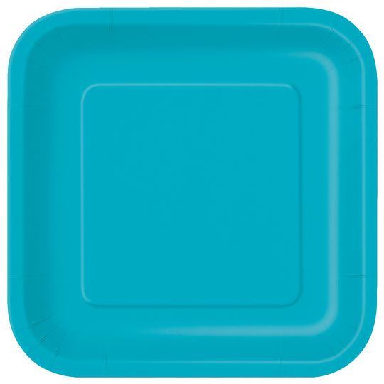 "9"" Square Teal Dinner Plates, 14ct"