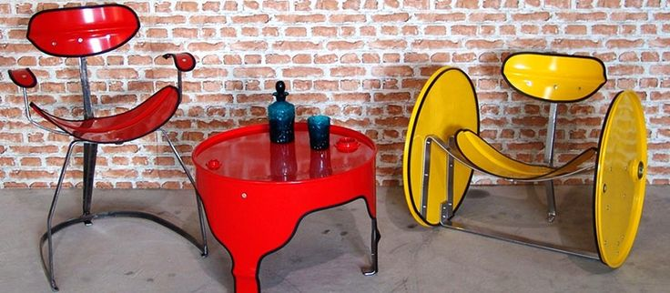 Reclaimed oil barrels turned into bold, colorful home furniture