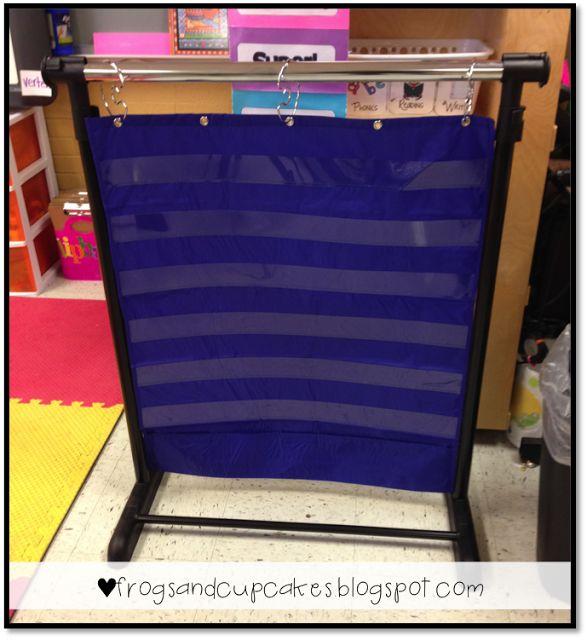 Turn a garment rack into an adjustable pocket chart stand!