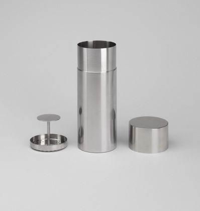 Cylinda Cocktail Shaker Arne Jacobsen (Danish, 1902–1971)  1964. Brushed stainless steel, 9 x 3 3/8 (22.8 x 8.5 cm). Manufactured by Stelton A/S, Copenhagen, Denmark. Gift of Richard Grant