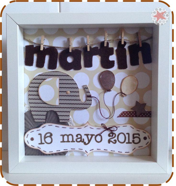 Cuadros infantiles nacimiento personalizados con nombre y fecha de nacimiento del bebé.