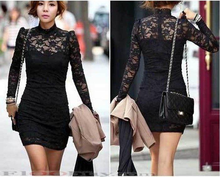 Turmec » long sleeve short lace dresses for women