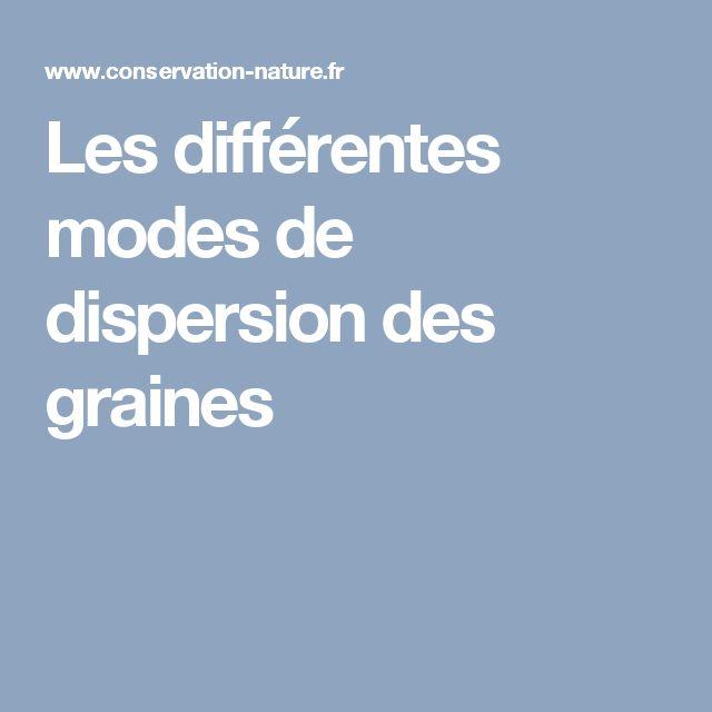 Les différentes modes de dispersion des graines