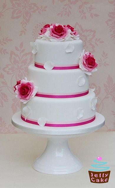 Fuchsia Roses Wedding Cake
