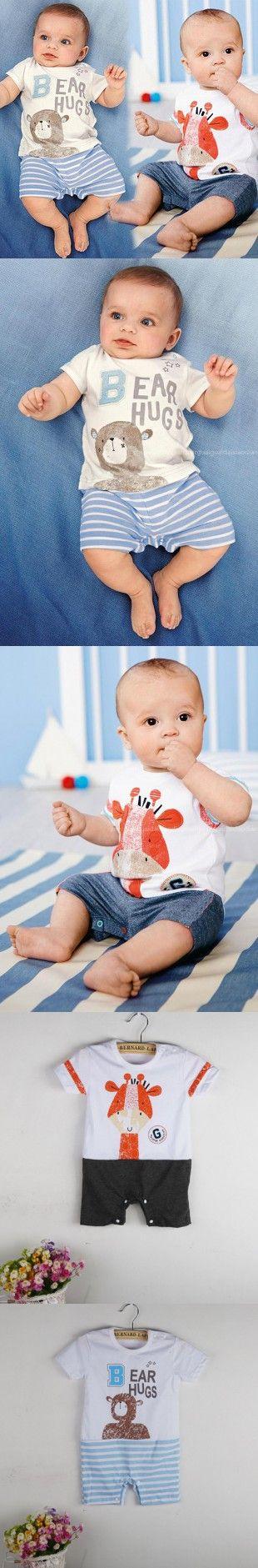 2016 Summer Newborn Baby Boy Clothes Giraffe Print Infant Baby Romper Newborn Clothes Original Bear Baby Jumpsuit