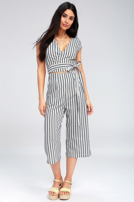 67e3b639075c The Jetset to Go Blue and White Striped Wrap Culotte Jumpsuit will keep you  stylin  from the city to the seaside! Striped cotton jumpsuit