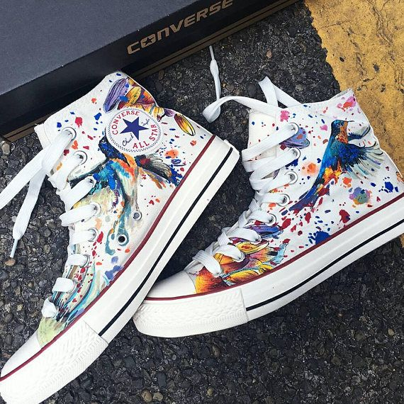 Hummingbird Watercolor Art, Personalized Watercolor Painted Shoes, Custom Hummingbird Painted Sneakers, Custom Watercolor Painted Converse
