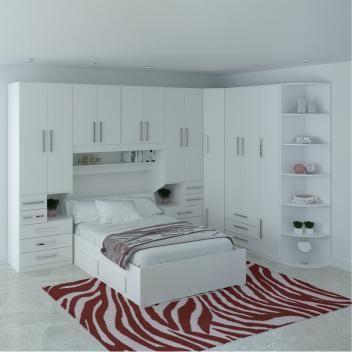1222S White Double Bed Dormitory Room – Móveis ilan  – Armários de canto