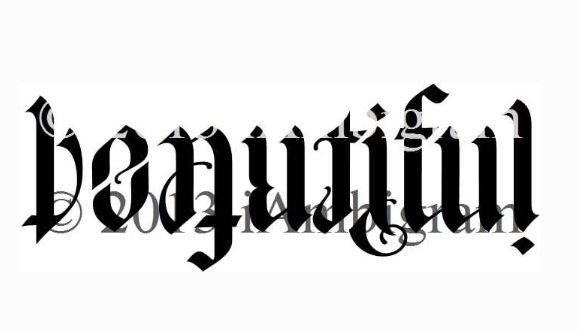 BEAUTIFUL/IMPERFECT ambigram tattoo idea <3