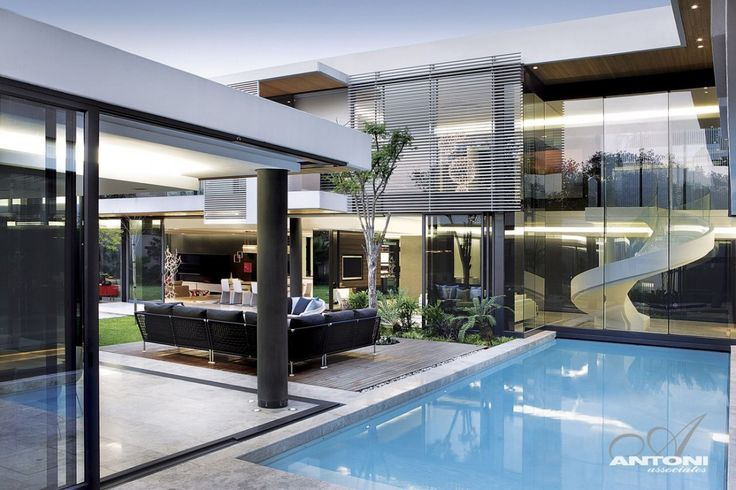 Outdoor living area in South African modern mansion