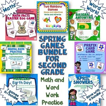 Spring Games! 7 games with spring themes, practicing literacy and math skills for grades 1-3. A value of $23 discounted for a short time only.