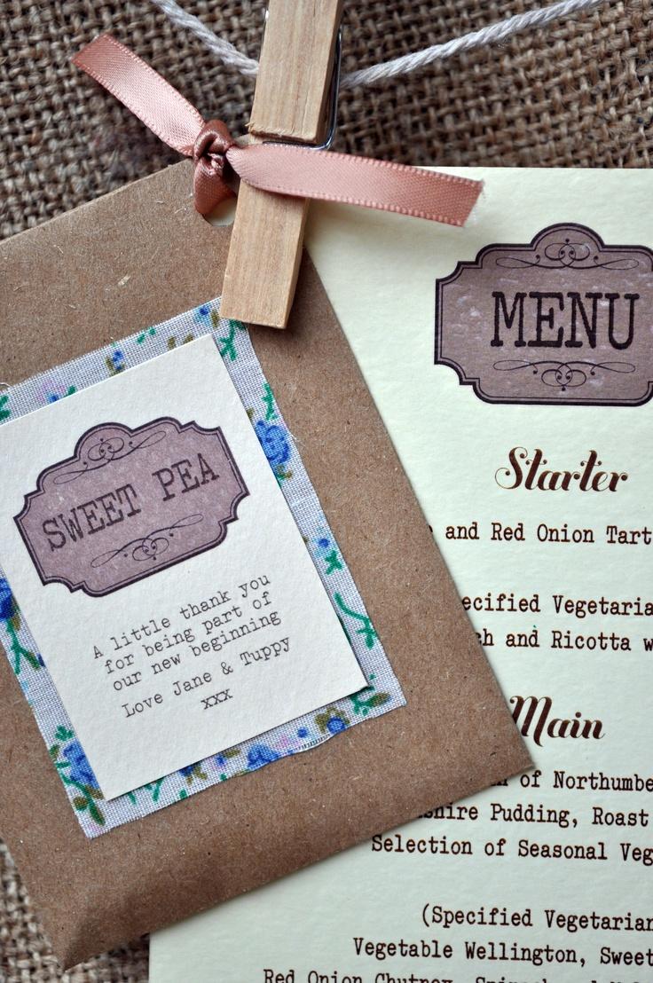 Handmade seed pack favours with matching menus by Minnie Sprinkles. Facebook.com/minniesprinkles