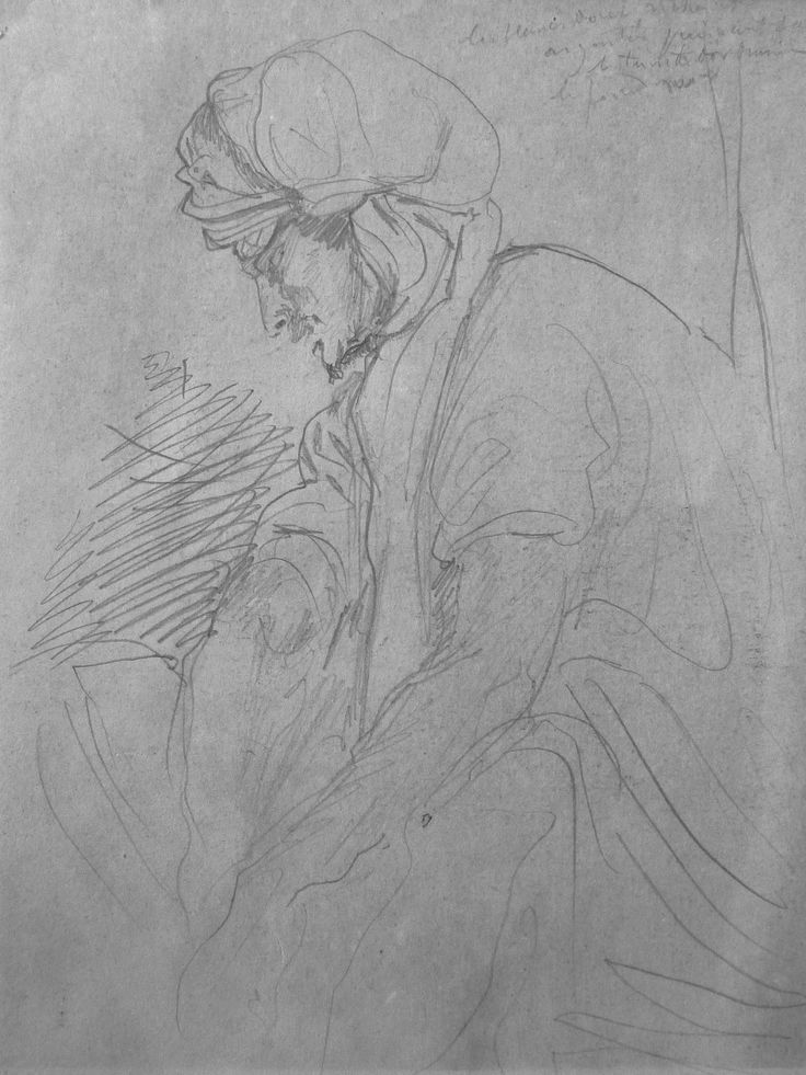 CHASSERIAU Théodore,1846 - Deux Arabes enturbannés - drawing - Détail 13 - Homme assis, pensif,- Thoughtful seating man -