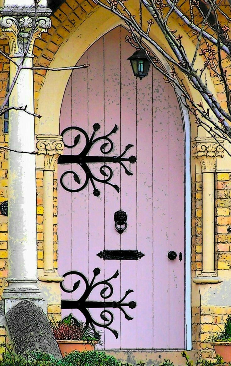 Enchanting pink church door.