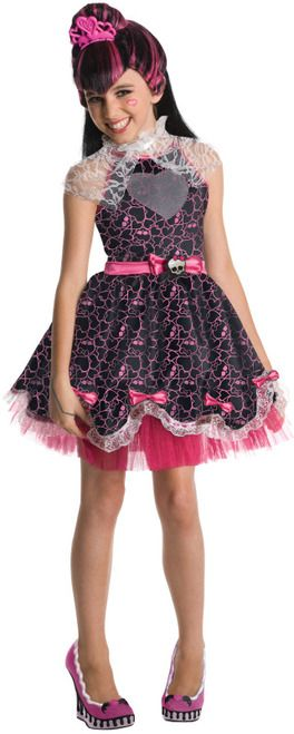 "Sweet 1600 Draculaura Girls Costume - Celebrate Draculaura's Sweet 1600! This licensed Monster High ""teen"" Vampire is one of the stars of the popular kid's hit series. This punky goth look is in for tweens. The Monster High is an extensive line with toys, games, shows and more. This is an essential addition to the collection.  This four-piece costume comes with a party dress, jabot, wig and tiara. #monsterhigh #yyc #calgary #costume"