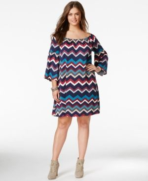 Love Squared Trendy Plus Size Chevron-Print Shift Dress - Multi 2X