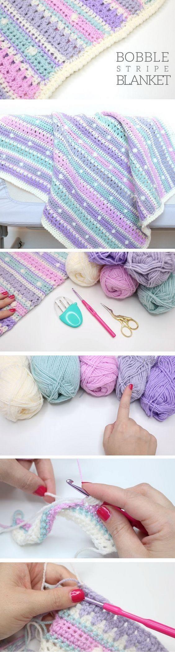 Quick And Easy Crochet Blanket Patterns For Beginners: Bobble Stripe Blanket Tut…