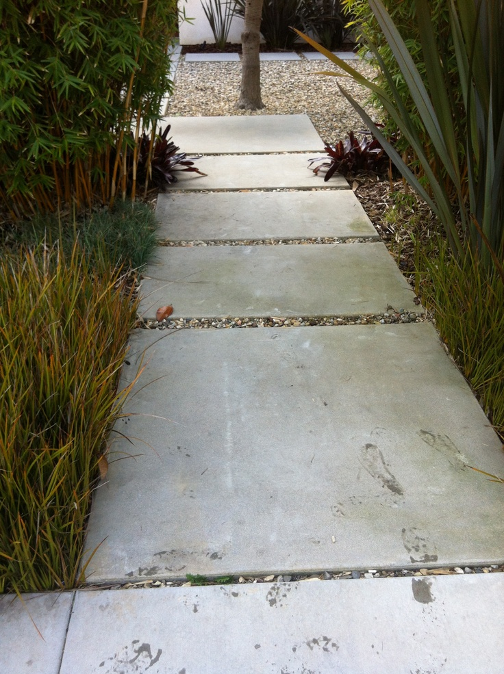 Large Rectangular Concrete Pavers Contemporary Mid