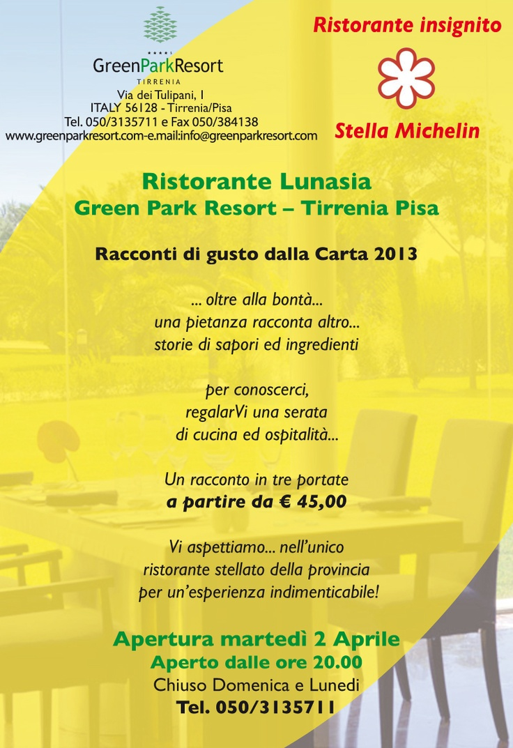 #Lunasia opens 2nd April. Michelin Star restaurant near #Pisa #Italy www.greenparkresort.com