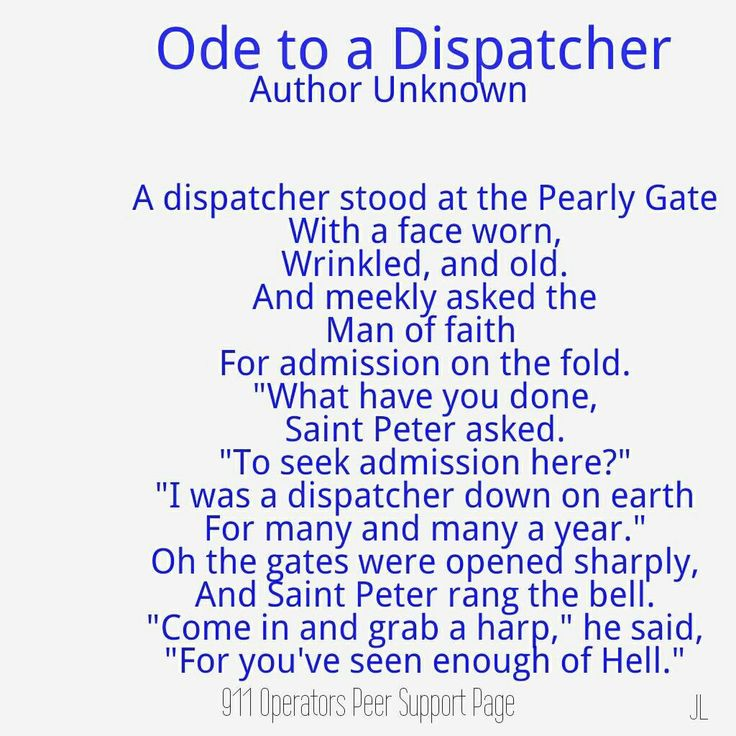 Ode to a dispatcher. This actually brings it home.