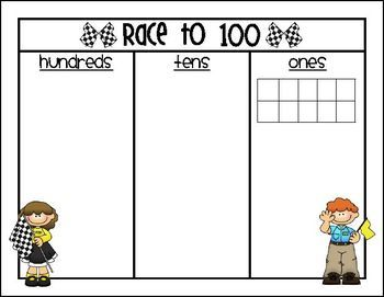Race to 50 or 100 {A Place Value Game} - Erin Morrison - TeachersPayTeachers.com free (also race to 50)
