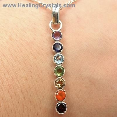 """These are beautiful faceted Chakra Gemstone pendants that make incredible energy pieces. This lovely .925 Sterling Silver jewelry pendant is aligned """"vertically"""" and set with a host of colorful gemstones inassorted """"cuts"""", each representing one of the 7 major chakras and include Amethyst, Iolite, Blue Topaz, Peridot, Citrine, Red Carnelian and Garnet.. Code HCPIN10 = 10% off"""