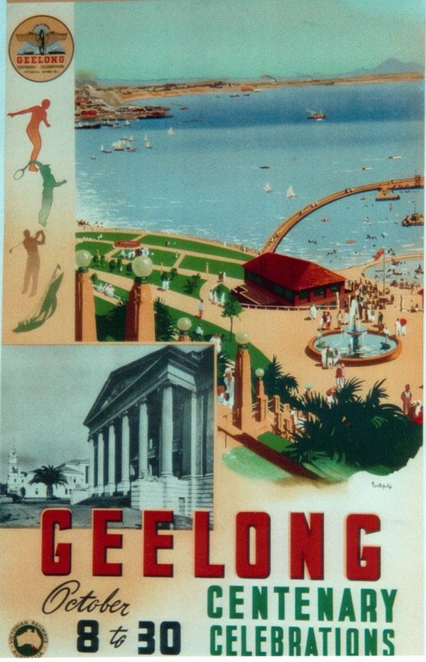 Vintage Travel Poster, Geelong, Australia