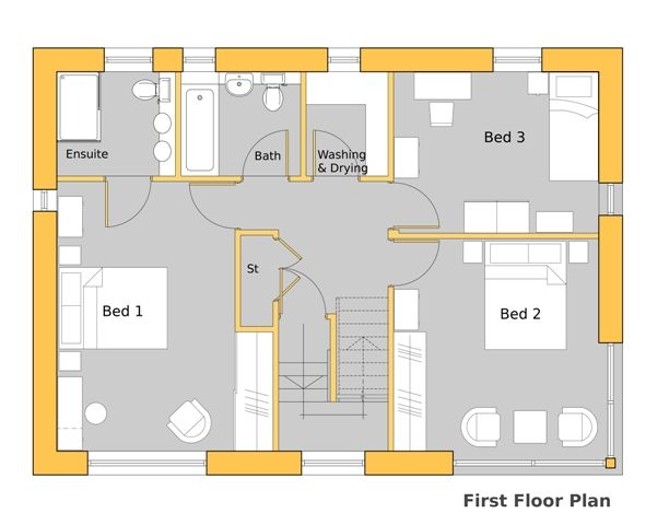 Howe park passive house first floor plan 1940 39 s bungalow for Passive solar home designs floor plans