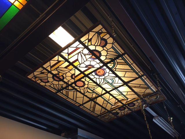 Glas in lood plafond (175x118 cm)    Stained glass Ceiling   Plafondverlichting   Plafonddecoratie   Horeca Interieurbouw   Irish Pub   Engelse pub   Sijf & Dax van Zuilen   Oudewater