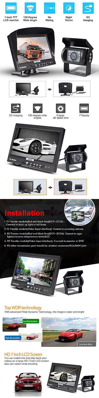 Rear View Monitors Cams and Kits: Annke 7 Lcd Rear View Monitor Car Truck With Backup Hd Camera System Security BUY IT NOW ONLY: $59.99