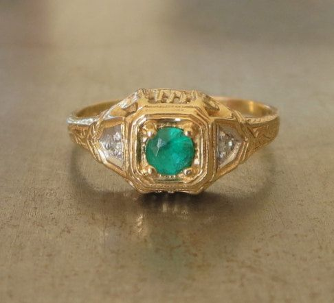 Engagement Ring  Emerald Engagement Ring  1920s by AntiqueSparkle