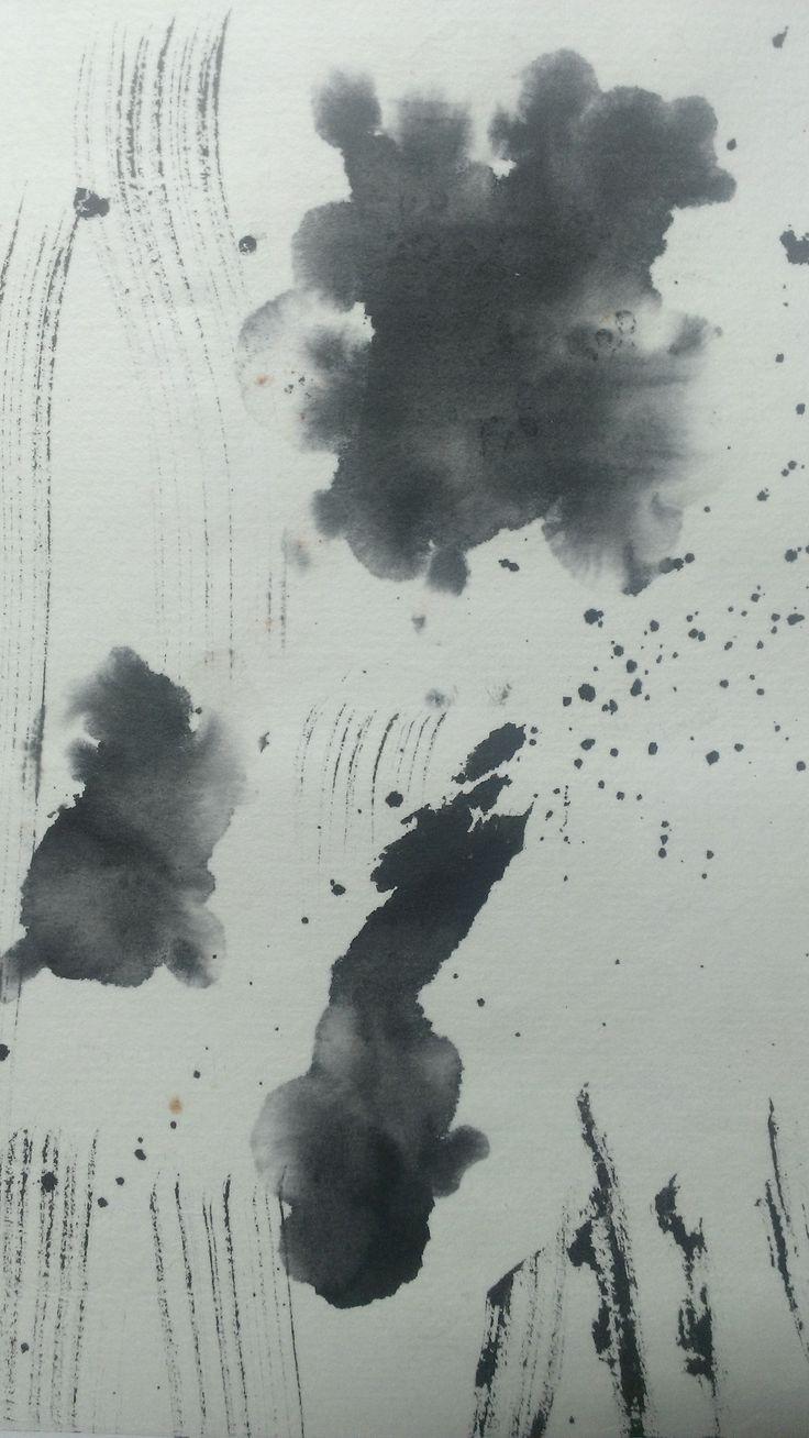 """GOLD FISH"" Visual Art Lesson 19-9-2014 Ink Painting @Sira.C"
