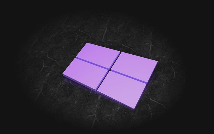 Download wallpapers Windows 10, 4k, 3d logo, gray background, Windows logo, Microsoft