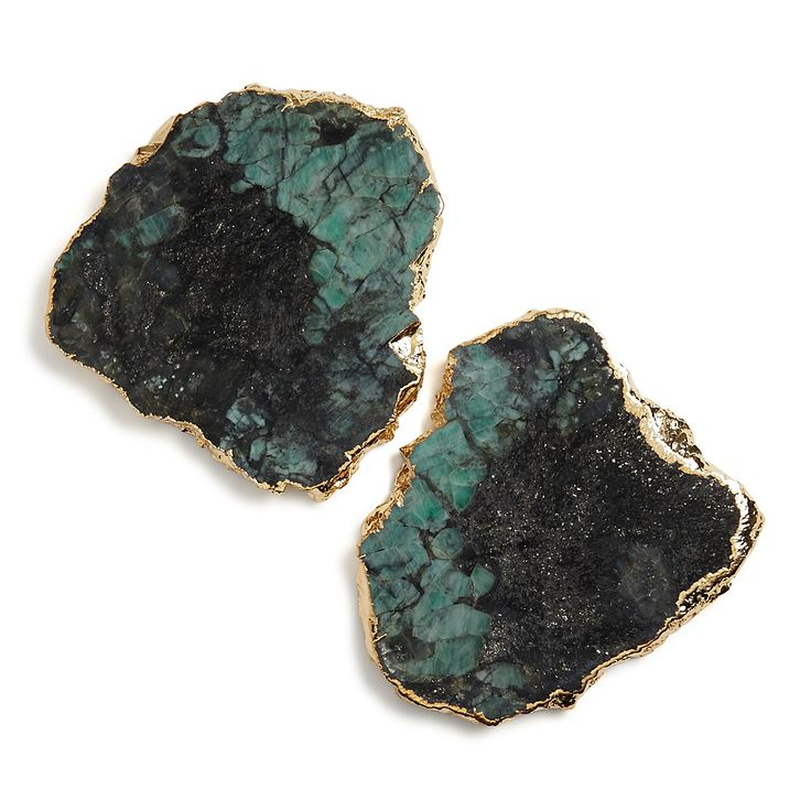 Gilded emerald coasters with an organic shape