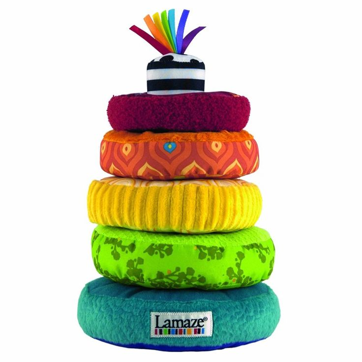 Explore textures, colors and practice stacking with this Lamaze Rainbow Rings Stacker for infants. Manufactured by Lamaze. Recommended for birth to 12 months.