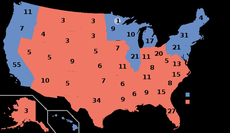 Image present the 2004 election results in which George W Bush won. George W Bush could have lost the election if he would have lost Florida or Ohio. http://en.wikipedia.org/wiki/United_States_presidential_election,_2004