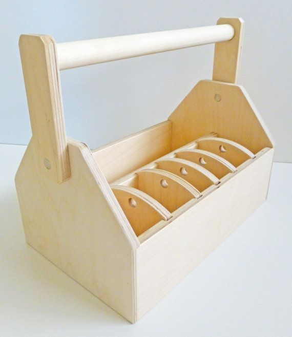 Wood Tool Box or Art Caddy - MEDIUM - Ready to Assemble Kit -  Organize with Movable Dividers via Etsy