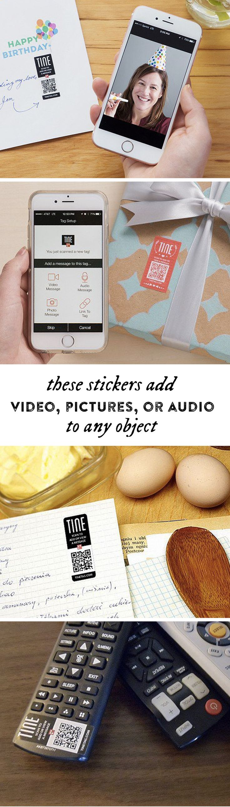 Add video, pictures, or audio to any object. These stickers can personalize gifts, tell guests how to use the remote, or give shoppers more info at your business.